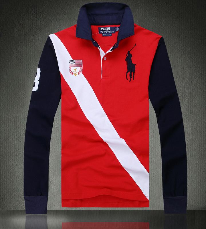 ... Hommes Ralph Lauren T shirt manches longues mode italienne pas cher  Rouge Blanc 4ce328614662