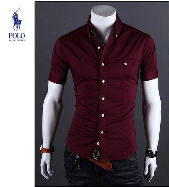 03a83810c5c ralph lauren nouveau chemises business casual homme coton discount rouge
