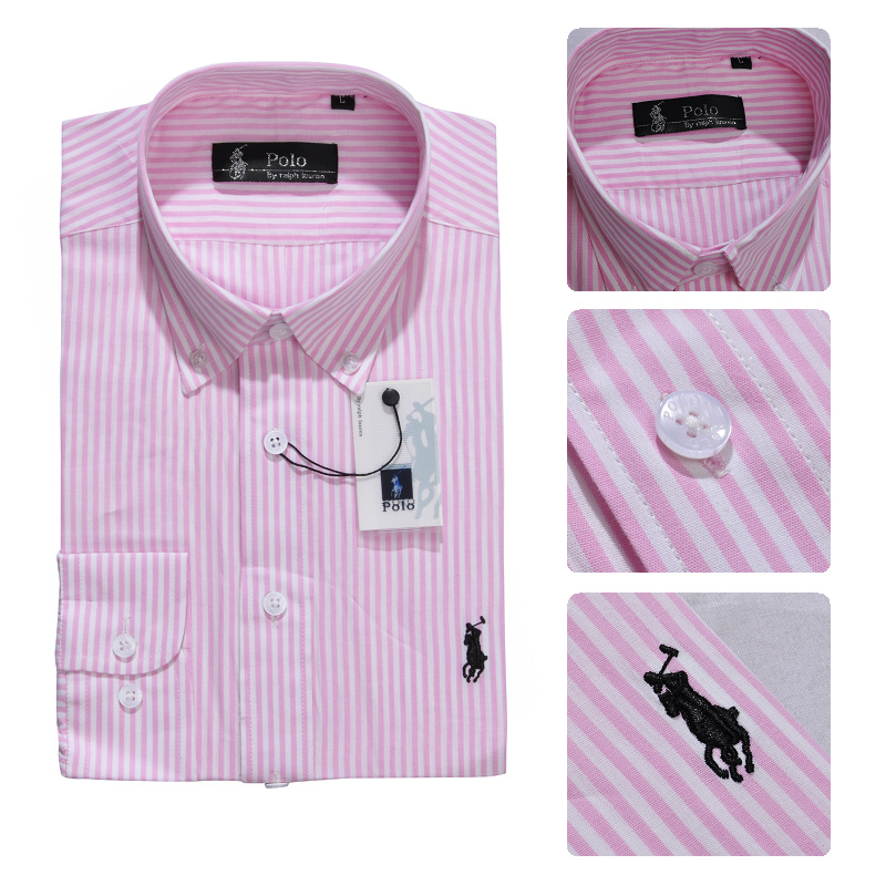 ralph laure hommes mode chemises manches longues 2013 polo france coton  rayures caine rose 07f002b0e704