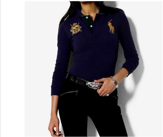 e5b5b160081 tee shirt polo ralph lauren manche longue femmes couronne blue  PLPO ...