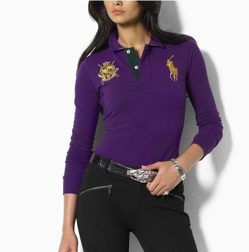 tee shirt polo ralph lauren manche longue femmes couronne purple,pas cher  officiel de polo dd4f110aa23